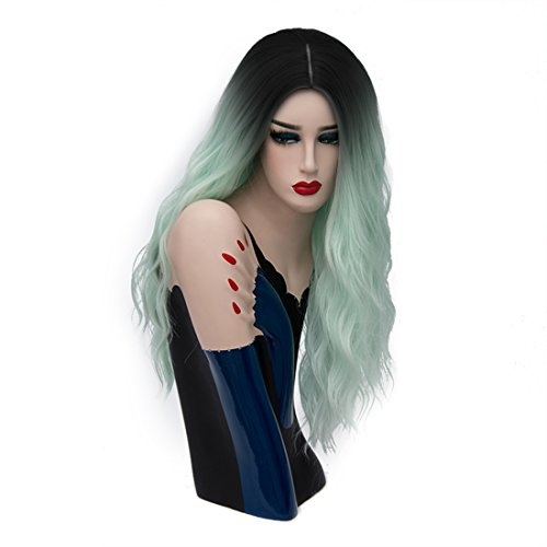 Priomix 60cm lange schwarze Ombre grüne Kostüme Halloween Anime Cosplay Perücke für Frauen Dame Girl + Free Wig Cap