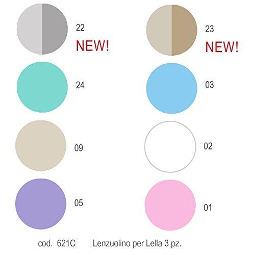 Lenzuola Picci per Culla Lella set 3pz Cod.621C-Bianco Celeste Var 03