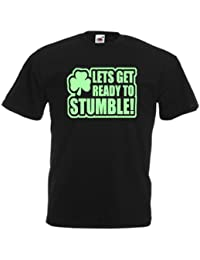 Lets Get Ready To Stumble Irish Ireland Saint Patricks Day Glow In The Dark Printed Design Adults Mens Unisex Gift T-Shirt