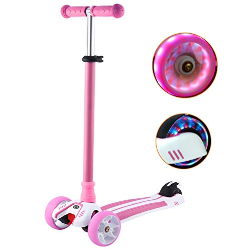 WeSkate Dreiradscooter für Kinder Kinderscooter mit PU LED Leuchten Räder und 3 Stufen Einstellbare Höhe Doppel-Hinterrad Big Wheel für Kinder 3-12 Jahre alt -