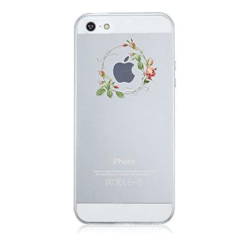 Coque iPhone 5/5S/SE,Vanki® Motif Plantes à fleurs Housse Transparente , Housse TPU Souple Etui de Protection Silicone Case Soft Gel Cover Anti Rayure Anti Choc pour Iphone5/5S/SE (1)