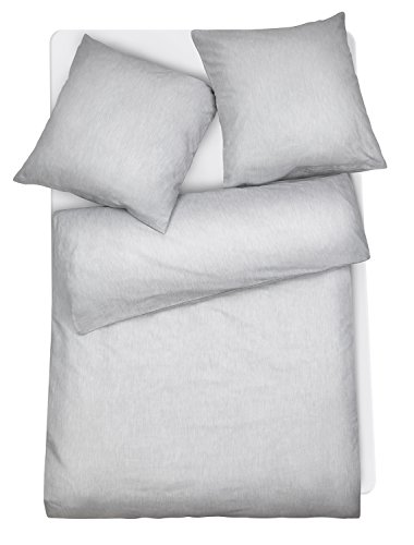 Carpe Sonno Mako Brokat Damast Bettwäsche - Made in Germany! Moderner Bettbezug höchster Qualität aus mehrfach veredelter & feinster Baumwolle. 2-TLG Bettwaren Garnitur Grau Melange - 155 x 200 cm -
