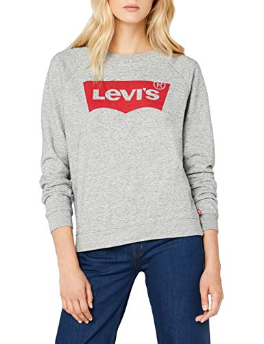 Levi's Damen Relaxed Graphic Crew Sweatshirt, Grau/Fleece Batwing Smokestack Htr 0, Medium Denim Fleece-sweatshirt