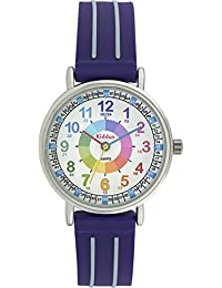 Orologio infantile per bambino/ragazzo, aiuta a IMPARARE A LEGGERE L'ORA, in confezione regalo, CON ESERCIZI, resistente all'acqua, meccanismo Seiko, batteria Sony, blu, Time Teacher (Blu)