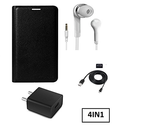 KTC Plus Full Black Leather Flip Cover With Handsfree, Charger Adapter and USB Cable For Xiaomi Redmi Note 4 (Mi Note 4)