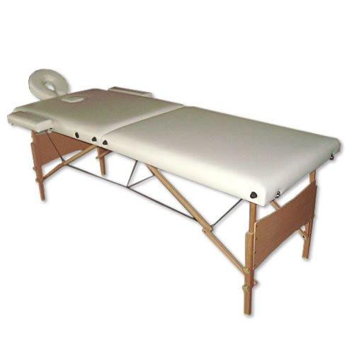 Melko Massageliege Profi 2, 3 oder 4 Zonen aus Aluminium und Holz, klappbar und höhenverstellbar - inkl. Schutzhülle (2 Zonen, Creme) -