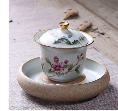 DXXMD Ceramic Cover Bowl Imitation Hand-Painted Quaint Magnolia Tea Bowl Three-Piece Lid Bowl Tea Cup Tea Ceremony Accessories Flowers with Brocade Base Magnolia Flower Bowl