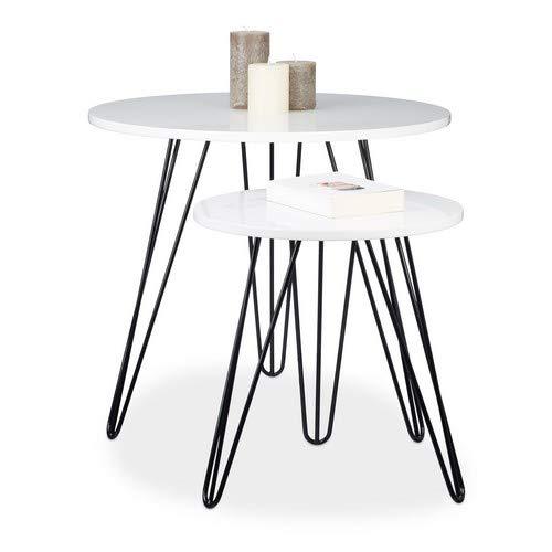Relaxdays Beistelltisch Weiss 2er Set, runder Dreibeiner, Holz Sofatisch für Wohnzimmer, HxD: 52 x 60 cm, glänzend Weiß -