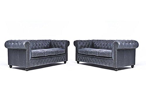 Original Chesterfield Sofas – 3 / 3 Sitzer – Vollständig Handgewaschenes Leder – Vintage Schwarz