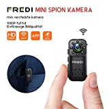 Mini Überwachungskamera,FREDI HD 1080P Mini Kamera WiFi Cam Kleine Bluetooth kabellos Tragbare IP Kamera Überwachung P2P mit Bewegungsmelder/IR Nachtsicht mit Akku Innen Außen für iPhone app