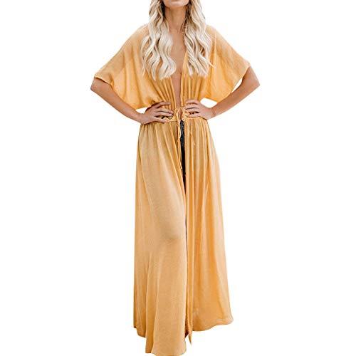 Lace Kaftan (ZYUEER Damen Oberteile Elegant Frauen Beachwear Lace Tops Anzug Bikini Vertuschen Bademode Kaftan Lange Strickjacke T-Shirt Bluse)
