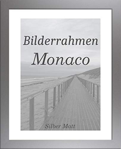 Homedeco-24 Monaco MDF Bilderrahmen ohne Rundungen 61 x 46 cm Größe wählbar 46 x 61 cm Silber matt mit Acrylglas klar 1 mm -