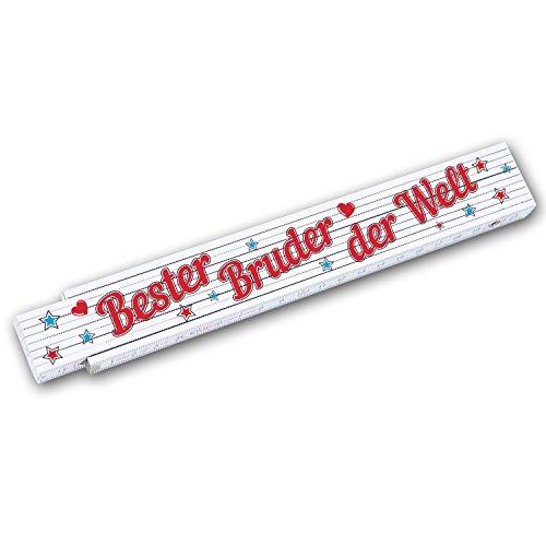 """Zollstock / Meterstab 2m mit Schriftzug """"Bester Bruder der Welt"""" ideales Geschenk zum Geburtstag, Weihnachten etc."""