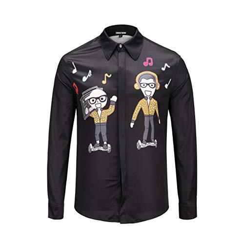 Charakter-jugend-t-shirt (CHENS Langarm/Slim fit/Strand/L Kleidung Schwarz Herrenhemd Stamp Tänzer Brüder Balance Auto DJ Cartoon Jugend Hiphop Charakter Shirt Mode Top)