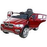 BMW X6 Rojo Lacado, Asiento Tapizado, Los niños del coche, los niños del coche eléctrico, coche niños, 2x motor, batería de 12 V, con mando a distancia