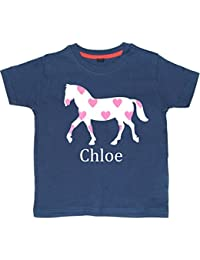 Edward Sinclair Horse With hearts Personalised Glitter T-Shirt (Please Go To Free Gift Message Section and ENETER Name For Personalisation and Save)