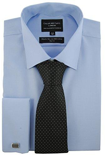 COLLAR AND CUFFS LONDON Hemd und Krawatte - Bügelfrei - Twill - 100% Baumwolle - Herrenhemd - Sensationelle Stoff - Blau - Slim Fit - Umschlagmanschette - Langarm - Kragenweite 38 (100% Twill Shirt Baumwolle)