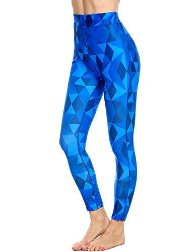 e Sportleggins, Damen, Yoga/ Workout/ Laufhose Gr. M, Blue Black Polygon (Halloween übungen Zu Drucken)