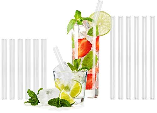 T&N Glas Strohhalm 12er Set - 6 Stück 15 cm und 6 Stück 20 cm Trinkhalme Glas + 2 Bürsten - Strohhalm wiederverwendbar Glas - umweltfreundlich, mehrweg - Smoothie und Cocktail-Strohhalme