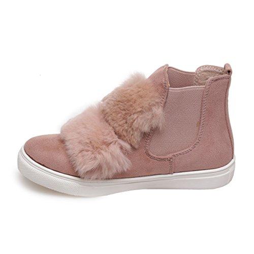 La Modeuse - Chaussures pour enfant ensuédine avec empiècements en fourrure Rose