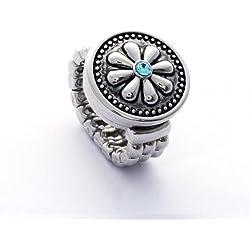 Morella señorías click-anillo botón y click-botón flor brillante azul claro