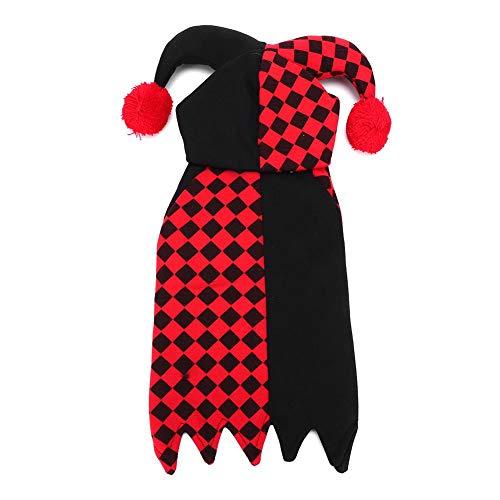 Clown Einzigartige Kostüm - Jacksking Haustier-Halloween-Kleidung, Polyester-nettes Haustier kleidet Karikatur-Clown-Spassvogel-Kostüm-Halloween-Versorgungen für Katzen-kleine Hunde(XL)