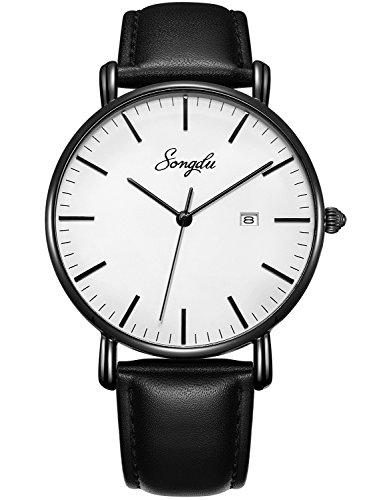 SONGDU Herren Ultra Dünne Elegant Analoge Quarz Armbanduhr (Weiß)