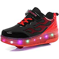 Moquite Unisex Kids LED Wheel Roller Skate Shoes High Top Retractable Technical Skateboarding Sport Outdoor Flashing Gymnastics Sneaker for Girls Boy
