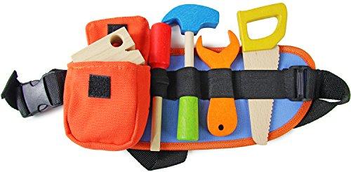 Kinder-Spielzeug Werkzeug-Gürtel Werkzeug-Set Handwerker Spiel-Set Holz 9 Teile für Werkzeug-Kiste Bauarbeiter