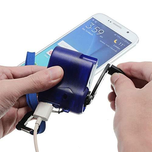 MYAMIA USB Hand Kurbel Strom Generator Notfall-Digital-Display-Handy-Ladegerät Manuelle Shake-Ladegerät Blau