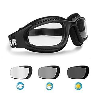 BERTONI Motorradbrille Winddichte Selbsttönende - Motorrad Schutzbrille Antibeschlag UV Schutz - Verstellbar Elastische with Outriggers für Motorradhelm - mod. F113 Automatische Scheibentönung