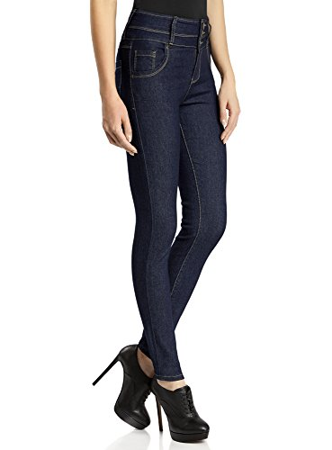 oodji Ultra Donna Jeans Slim Fit a Vita Alta, Blu,