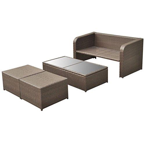 vidaXL 9-tlg. Gartenmöbel-Lounge-Set Sofa-Set Poly Rattan Braun - 4