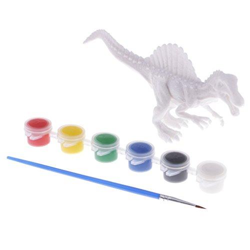 erei Färbung Dinosaurier Modell Set - Inkl. Weiß Dinosaurier Modell, Farbpigmente, Pinsel - Kinder Pädagogisches Spielzeug - Spinosaurus ()