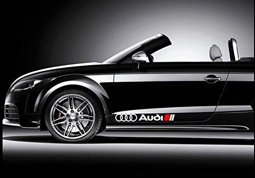 Shopping-World-Thailand Seitendekor Aufkleber passt zu Audi Auto Car Windschutzscheiben Sticker/Plus Schlüsselringanhänger aus Kokosnuss-Schale/Auto Racing Tuning A1 A3 A5 A6 TT Q3 Q5 Quattro
