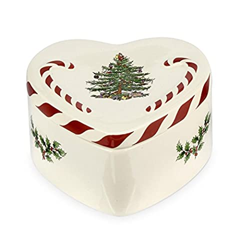 Spode Peppermint Lidded Heart Box, Ceramic, Multi-Colour