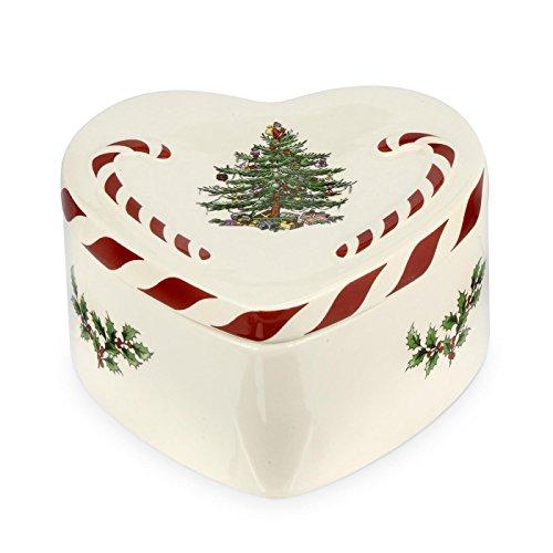 Spode Box in Herzform Peppermint, mit Deckel, Keramik, Mehrfarbig Spode China Christmas Tree