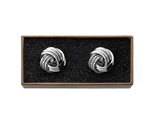 """VALDERO® Herren Manschettenknöpfe -""""Knots"""" in Box (Silber)"""