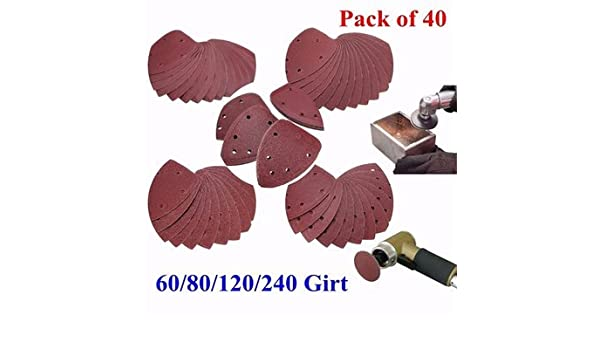 40pcs 60//80//120//240 Grit Mouse Sanding Sheets 140x100mm Triangle Sandpaper