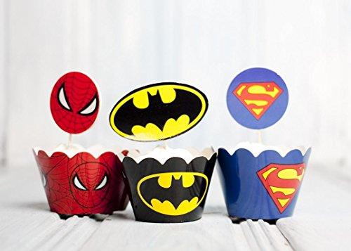 12x variadas (Superman, Batman, Spiderman) magdalenas Decoración Cup Cake Topper y Wrappers para Super Héroes Hero para Fiesta temática, cumpleaños infantil, fiestas y 30. Cumpleaños, MR & MRS, barba lipppen con conector (Rojo (Labios), cartón) (Negro, c