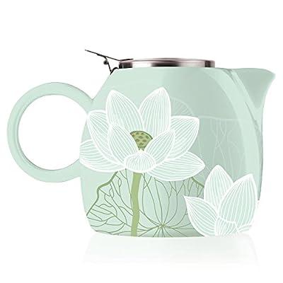 Tea forté Pugg 680,4gram Théière en céramique avec infuseur à thé, thé en vrac pour deux d'infusion, Lotus