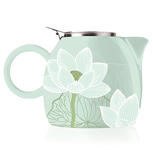 Tea forte pugg ceramica teiera con infusore, loose leaf tea steeping for two, lotus
