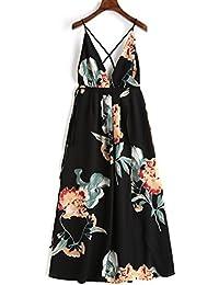 YTJH Vestito da Donna Vintage Maxi Lunga Dress Spalline Italiane Senza Maniche  Elegante Abito da Sera Stampa Fiori Estate Gonna in Cotono… a828163e0c3