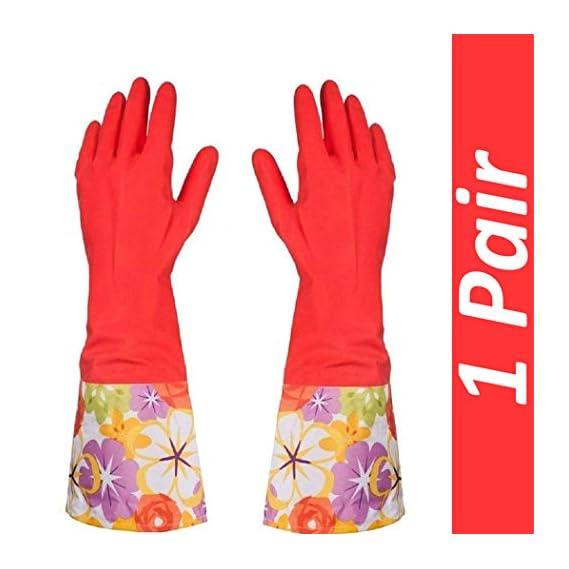 HOMIZE Kitchen Household Glove, Dishwashing Waterproof Hand Gloves for Women, Red Half
