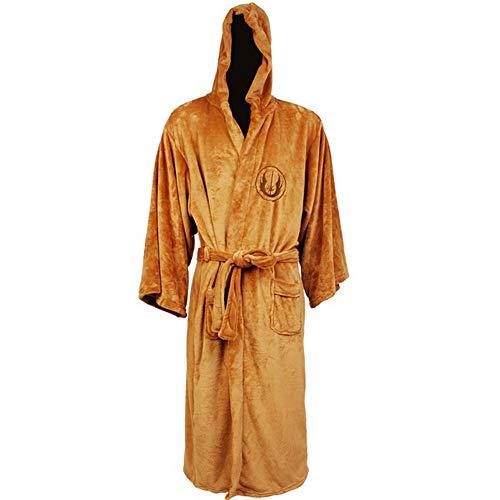 ouken 1PC Bademantel Cosplay Set für Mann und Frauen Kostüm Tunika mit Kapuze Robe Outfit (L, Brown) (Jedi Knight Outfit)
