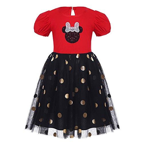 Freebily Mädchen Kleid Punkt Festlich Polka-Dots Kinder Partykleid kurzarm Freizeit Prinzessin Kleider Mesh Rock 68 80 86 92 98 104 110 116 Rot & Schwarz 110-116/5-6 Jahre