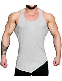 Chaleco Deportivo,Mens Secados Apretado Gimnasio Chaleco Sin Mangas,Humedad Wicking Transpirable Suave Piel Gris-Friendly Sports Tank Top,para Aeróbic Footing Baloncesto Ciclismo Excursionismo Escal