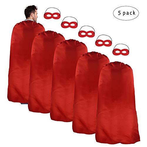 Erwachsene Superhero Kostüme Satin Red Capes und Masken Set für Männer Frauen Kostüm Jede Party und Spiel, 5 Pack (Hen Night Superhelden Kostüm)