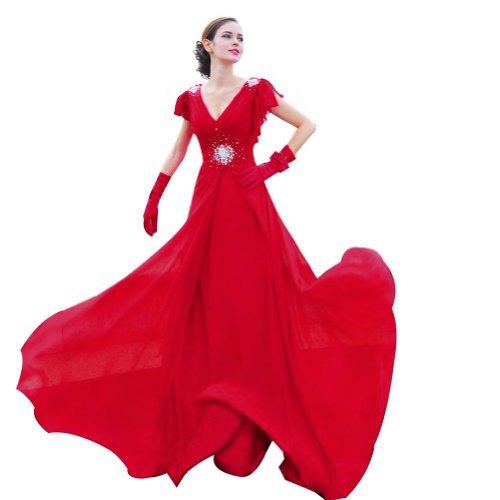 Lemandy robe de soirée mousseline traîne courte col en V comme la photo