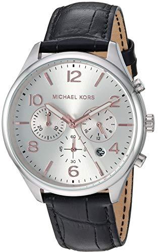 Michael Kors Men's 'Merrick' Quartz Stainless Steel and Leather Watch, Color:Black (Model: MK8635)